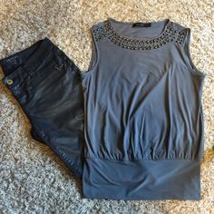 Beaded neck top Stunning top!! Polyester and spandex- so comfy! Great with jeans, leather pants or a suit!! The Limited Tops Blouses