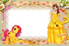 Girls Transparent Frame with Princess Disney Princess Invitations, Disney Princess Belle, Cute Disney, Disney Art, Boarders And Frames, 1st Birthday Pictures, Photo Frame Design, Disney Printables, Cute Frames