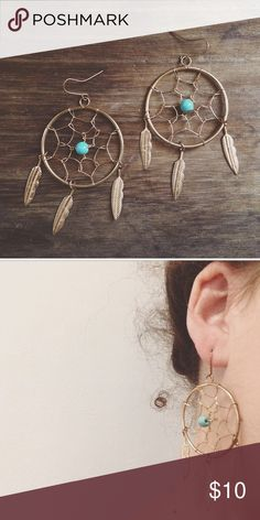Dream catcher earrings Gold with a hint of turquoise. Jewelry Earrings