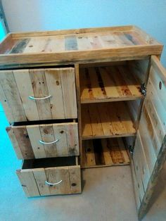 Pallet Chest of Drawers Use as a change table and figure out how to make it a corner table