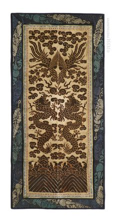 Chinese Dragon Cloth, early 19th century (26x55cm) #china #dragon #silk