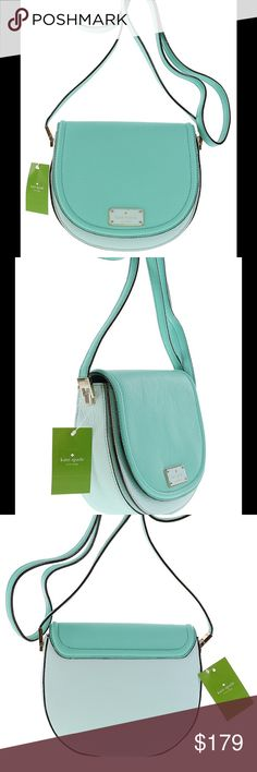 "NWT Kate Spade Oliver Street Lilly Crossbody Kate Spade Oliver Street Lilly Pebbled Leather Crossbody Bag in Green/Blue.  Front flap with magnetic closure, gold-toned hardware, adjustable shoulder strap with max drop of 23"".  Front has embossed Kate Spade name plate.  Fabric lined interior features front full length slip pocket.  Main compartment has 1 zip pocket.  Approx measurements: 8.25""x 7.25""x3.5"". kate spade Bags Crossbody Bags"