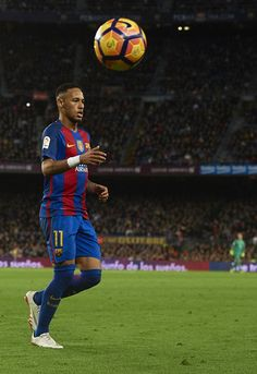 Neymar JR of Barcelona looks on during the La Liga match between FC Barcelona and Malaga CF at Camp Nou stadium on November 19, 2016 in Barcelona, Catalonia.