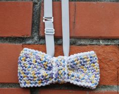 """Купить Галстук-бабочка вязаный """"Пёстрый акцент"""" 2 - разноцветный, галстук-бабочка, галстук бабочка"""
