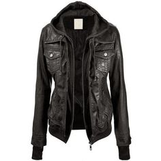The Vogue Fashion Lock and Love Women's Hooded Faux Leather Jacket ❤ liked on Polyvore