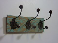 ROBE TOWEL COAT HOOKS green / aqua vintage shabby chic bedroom hall   eBay