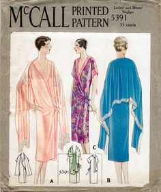 Circa 1929 style kimono pattern, shawl collar, side tie fastening, scarf secured at neckline drapes around shoulders and cascades across arms and back. size small- bust 32 - 34 ★ ★ ★ ★ ★ ★ ★ ★ You will receive a high quality reproduction with full scale pattern pieces printed