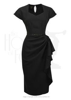 40s Hayworth Evening Dress - Black Crepe 1940s Outfits d613d62f865d
