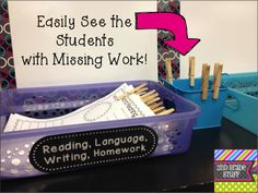 "tcmtoday: "" Great idea: How to manage your turn-in tray using clothespins - a simple and inexpensive way to see who has handed in their homework and figure out who handed in that no-name..."