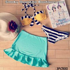 Black & White Striped with Mint Green Ruffled Skirt 3 Piece Swimsuit Set - 3PC500 - Smoky Mountain Boutique