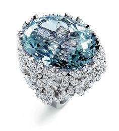 Haute-Joaillerie-Ring aus Aquamarin und Diamanten: Aus der Serie «Masterpieces» von Pasquale Bruni.