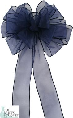 Our Pew Bows Navy Sheer are sold in sets of 4 bows and we offer 15 different colors to choose from. Each bow is made with 15 loops and 2 tails of 2 1/2 inch ribbon. Each bow has a sturdy florist wire stem to aid in attachment.
