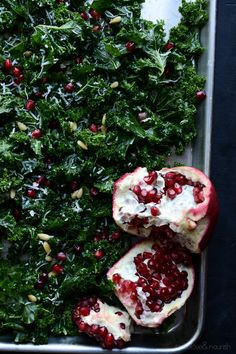 Massaged Kale Salad with Parmesan, Pine Nuts and Pomegranate - learn how to create a tender kale salad with this technique!  | @tasteLUVnourish