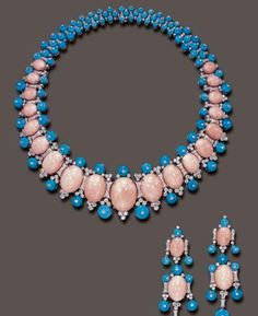 Coral, Turquoise and Diamond Necklace and Earrings