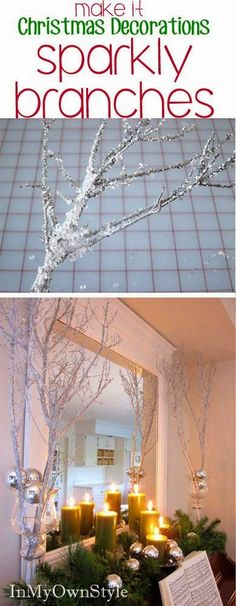 Make these sparkly tree branches to decorate your house for Christmas.