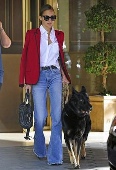 NICOLE RICHIE | RED BLAZER + DENIM FLARES
