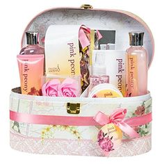 Royal Peony Spa Bath Gift Set in Mirrored Jewelry/ Cosmetic Decorative Hard Box,2 shelf, 6 compartments, brown leather handle, gold lock closer - Brought to you by Avarsha.com