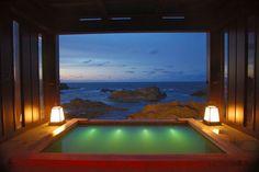 Open-air bath in Japan ryokan