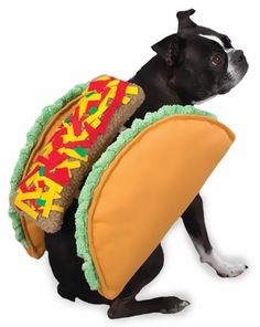 "The Taco #Costume is the deliciously fun way for #dogs to dress up for Halloween. Soft plush dog costume features two plush taco ""shells"" with a berber filling."