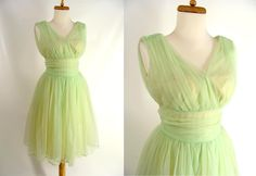 $103.00 TEMPORARILY REDUCED was 133.00 pretty vintage 50s Lime Green and Yellow Shirred Chiffon Short Prom Party Dress 2 XS by wardrobetheglobe on Etsy