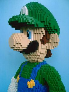 giant LEGO model of Luigi  some nerd got bored one day..i get bored and I build but I am not *that* good.