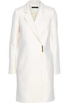LAla Fashion Victoria Beckham Double Breasted  Wool-Blend Coat White