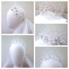 Ideas For Hair Accessories Crown Veils Bridal Crown, Bridal Tiara, Headpiece Wedding, Bridal Headpieces, Hair Jewelry, Bridal Jewelry, Jewellery, Crystal Crown, Crystal Garland