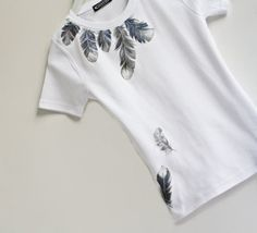 Hand Painted White Women Tshirt Feathers Design by MishMashStore, $34.90