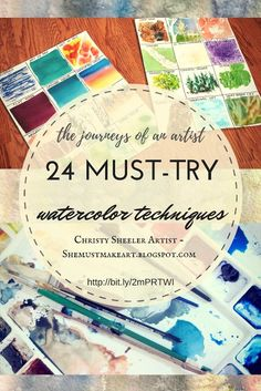24 Must-Try Watercolor Techniques: Two posters and two pages of tips to accompany the techniques. Link for handouts included! These pins have been so popular & I have wanted to share the how-to handouts for a long time! Finally, I have it all together and I'm sharing it with you on the blog! http://shemustmakeart.blogspot.com/2017/03/24-must-try-watercolor-techniques.html