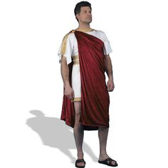 Greek Nobleman Adult Costume Description: A deluxe ancient greek toga. The citizens of Greece look to you for wisdom! This costume includes white tunic with go Ancient Greece Clothing, Ancient Greece Fashion, Ancient Greek Costumes, Greek Toga, Toga Costume, Greek Men, Greek Fashion, Country Dresses, White Tunic