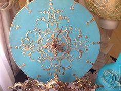 Купить Настенные часы Винтажная Бирюза Tiffany - бирюзовый, часы, настенные часы