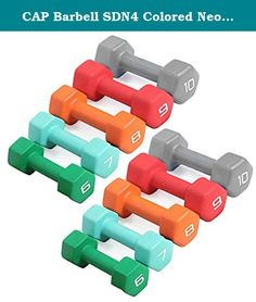 CAP Barbell SDN4 Colored Neoprene Hex Dumbbell Set - 6, 7, 8, 9, 10 lbs (5 pairs) - For Aerobic Workouts and Muscle Toning. Economy SDN4 Neoprene Covered Hexagonal Dumbbells by CAP Barbell - Buying your neoprene coated dumbbells by the set is definitely cheaper than buying by the single pair and CAP Barbell has configured each set into the most popular weights based on what customers ask for most. Each pair of dumbbells is completely encapsulated in brightly colored neoprene for easy...