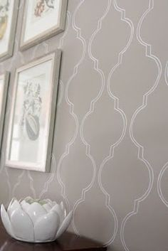 "Stenciled ""wallpaper""!  I am soooo doing this in my bedroom even though I bought wallpaper!"