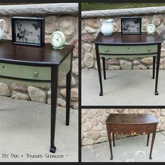 My flea market flip desk ~ I used an ebony stain on the top & legs and added a bit of personality with General Finishes Basil Milk Paint topped with Brown Glaze… Refurbished Furniture, Repurposed Furniture, Furniture Makeover, Painted Furniture, Chair Makeover, Rustic Furniture, Antique Furniture, Furniture Projects, Kids Furniture