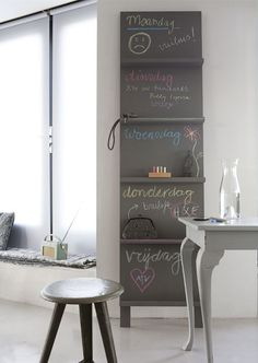 chalk board organizer with shelves...with days of week?