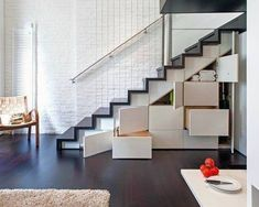 Check Out Modern Staircase Design For Your Home. Most modern staircase design is meticulously detailed, exposing all the working elements and eschewing trim, moldings, and other decoration. Small Space Living, Tiny Living, Small Spaces, Living Spaces, Living Room, Loft Design, Storage Design, House Design, Storage Ideas
