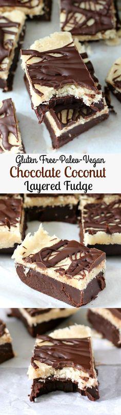 Layered Chocolate Coconut Fudge - Gluten free, paleo, vegan, nut free, no bake!