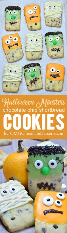 Halloween Monsters Shortbread Cookies are melt in your mouth dipped chocolate chip shortbread cookies decorated to look like cut and creepy Halloween treats.