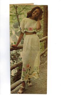 Hand crocheted 2 piece dress  beautiful  like new
