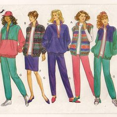 A Front Zip Jacket & Vest, Elastic Waist Tapered Skirt and Pants Sewing Pattern