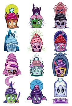 We took all your favorite iconic scary characters and turned them into cute cuddly cupcake tattoos. No need to fear these tasty little temporary tattoos! Series of 12 Tattoo designs includes: - Abomin 12 Tattoos, Temporary Tattoos, Body Art Tattoos, Tattoo Drawings, Tattoos For Guys, Cool Tattoos, Zombie Tattoos, Best Sleeve Tattoos, Scary Characters