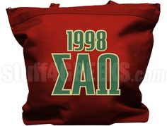Crimson Sigma Alpha Omega tote bag with the Greek letters and founding year across the front.