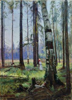 Ivan Shishkin - Girl in a Landscape -