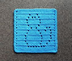 Turquoise CAT Wash Cloth or Dishcloth 100% Cotton Crochet
