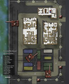 Dockside Warehouse / Logistics Center; shadowrun, floorplan
