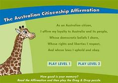 Interactive fun for primary students - The Australian Citizenship Affirmation game and other online and paper-based games