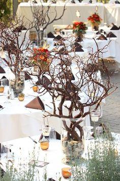 Manzanita Branch and River Rock Wedding Reception Centerpiece.  @ Whitehorse Inn