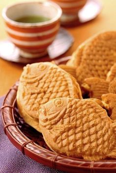 Japanese Taiyaki - a fish shaped cake filled with sweet red bean paste.  I need to go to Japantown in SF to get some again.  Yum!