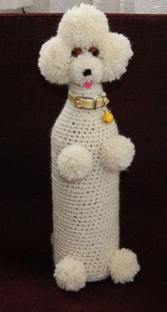 Lol a Poodle wine bottle cozy.handmade crocheted wine bottle cozy cover of lady in bikini funny novelty rude - PIPicStatsMemba these? My Grandma made these like crazy, everybody wanted them, she took orders. Folks used them as door stoppers, they wer Wine Bottle Covers, Wine Bottle Art, Wine Bottles, Crochet Home, Crochet Gifts, Glass Bottle Crafts, Crochet Amigurumi, Bottle Painting, Crochet Animals