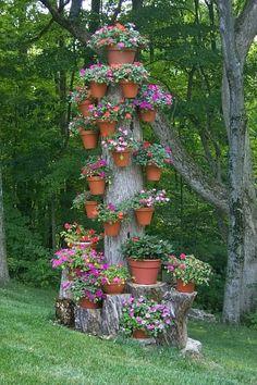 Dead tree, turned into flower holder, genius!